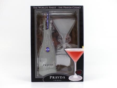 Pravda Vodka Cosmo Set Geschenkset mit einem Martiniglas 40% 0,35L