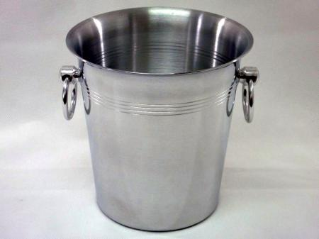 Eiskübel/Sektkühler Alu poliert mit Ringen