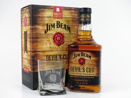 Jim Beam Devil's Cut Geschenkpackung mit Whiskytumbler 45% 0,7L