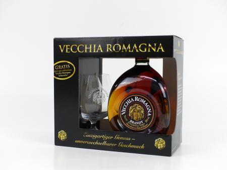 Vecchia Romagna Geschenkpackung mit Schwenker 38% 0,7L Limitiert