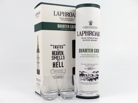 Laphroaig Quarter Cask in GP mit Gläser 48% 0,7L