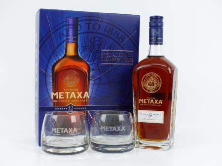 Metaxa 12 in Geschenkpackung mit 2 Gläsern 40% 0,7L
