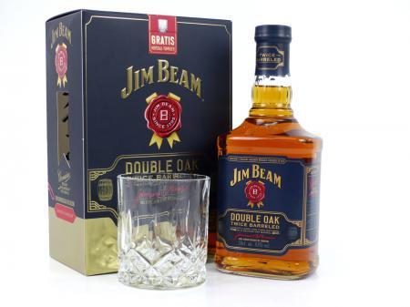 Jim Beam Double Oak in Geschenkpackung mit Tumbler 43% 0,7L