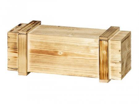 1er Holzkiste mit Leisten geflammt 360 x105 x105