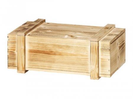2er Holzkiste mit Leisten geflammt 360 x185x105